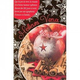 Carte de Voeux Pomme d'Hivers et Cannelle et Meilleurs Voeux