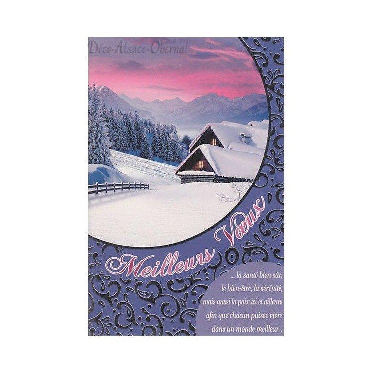 Carte de Voeux Chalet sous la Neige Meilleurs Voeux