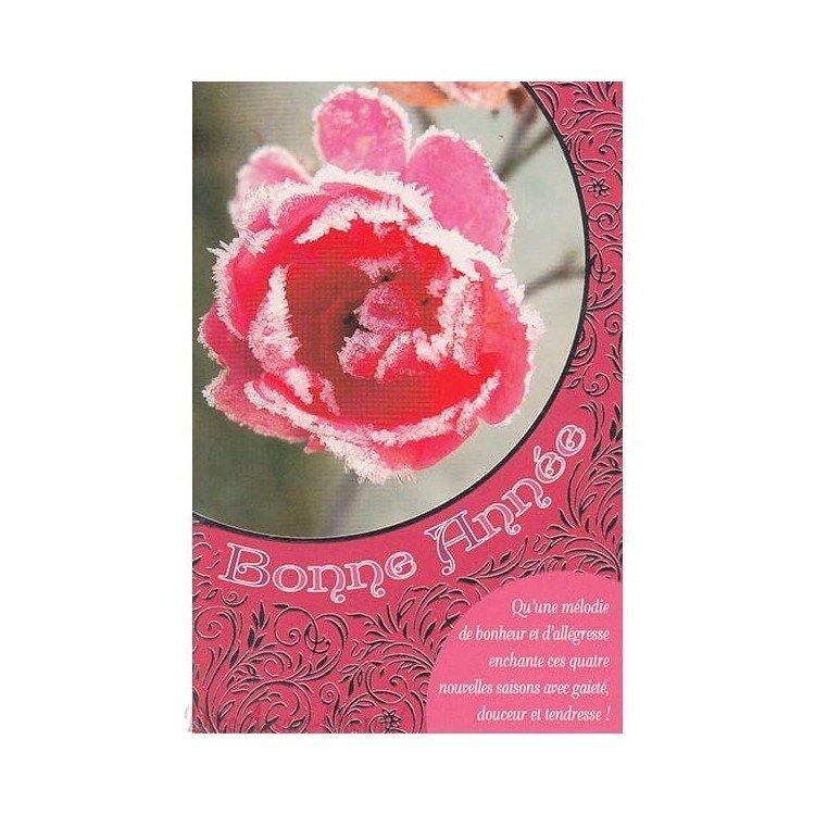Carte de Voeux Rose Givrée Bonne Année
