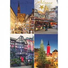 Carte Postale Villages d'Alsace à Noël