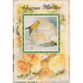 Carte de Voeux Heureux Mariage, Coupes et Champagne