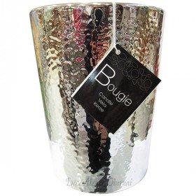 Kerzendochte 2 Pot Ceramic gehämmerte Silber