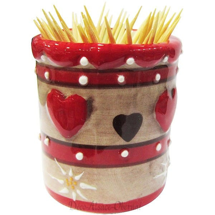 Retrouvez Porte Cure Dent en Céramique décor Coeur d'Alsace à Obernai