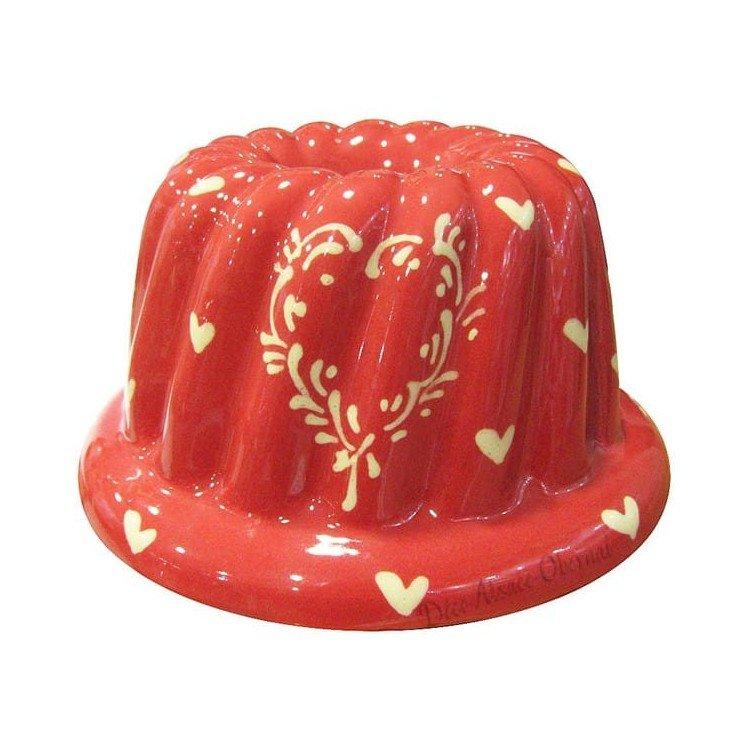 Retrouvez Moule à Kougelhopf de Soufflenheim Rouge décor Coeurs Ivoire à Obernai