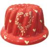 Moule à Kougelhopf de Soufflenheim Rouge décor Coeurs Ivoire