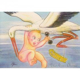 Carte Postale Bébé porté par une Cigogne La Boite aux Trésors à Obernai