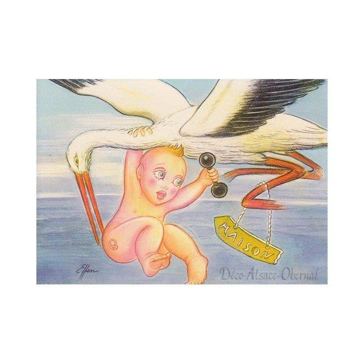 Carte Postale Bébé porté par une Cigogne