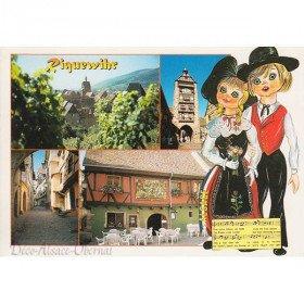 Postkarte Blick auf den Weinberg in Riquewihr