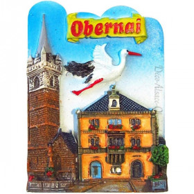Decorative Magnet City of Obernai and Stork