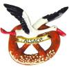 Dekorative Magnet Stork Alsace im Flug auf seiner Brezel