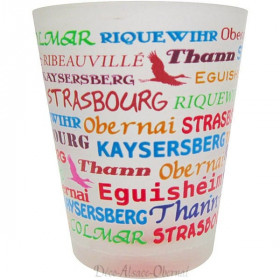 Liqueur glass decorated with Alsatian towns