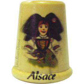 Dé à Coudre en Bois sérigraphié Alsacienne et Alsace