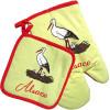 Lot Handschuh und Topflappen gelb Küchendekor Stork und Elsass