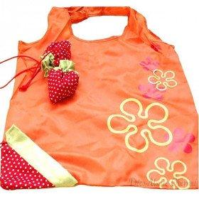 Einkaufstasche orange wiederverwendbare Nylon Erdbeere Falten