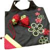Einkaufstasche Wiederverwendbare Black Nylon Falten Erdbeere