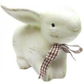Lapin blanc avec son noeud décoratif assis en Céramique
