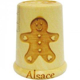 Dé à Coudre en Bois gravé d'un Mannele d'Alsace