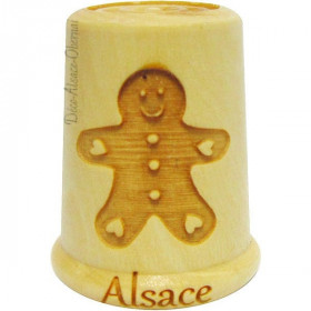 Wooden thimble engraved with a Mannele from Alsace