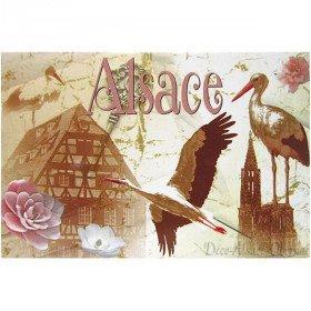 Dekorative Weinlese-Magnet Stork und Dorf von Elsass