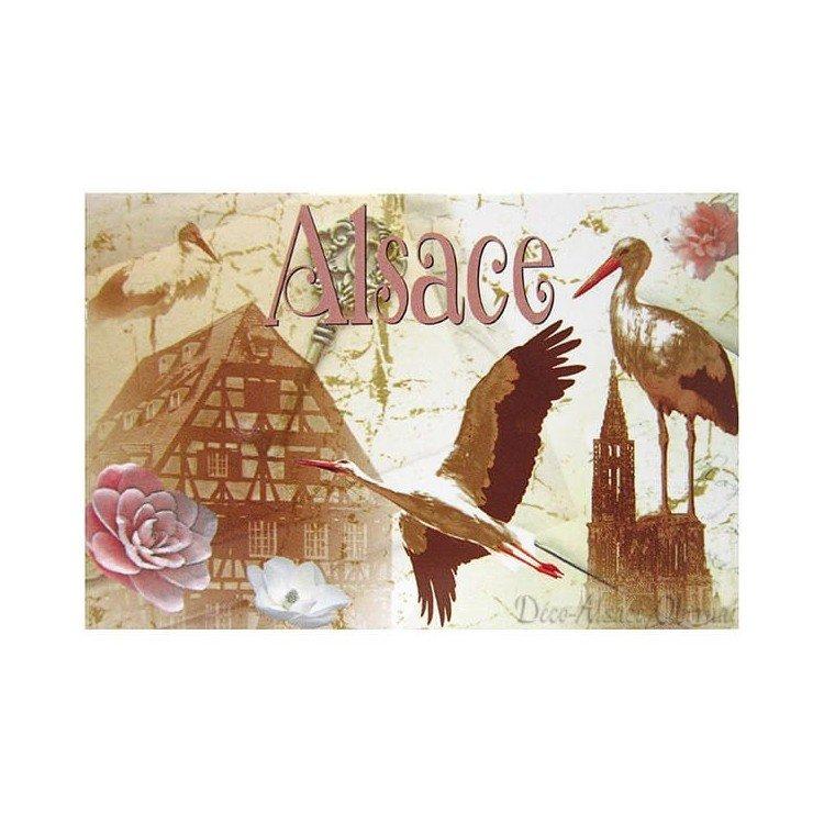 Retrouvez Magnet Décoratif Vintage Cigogne et Village d'Alsace à Obernai