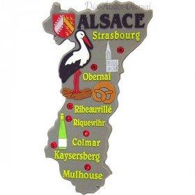 Magnet Décoratif souple Village du Bas Rhin et Cigogne d'Alsace