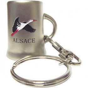 Porte Clé Chope en Métal marqué Alsace