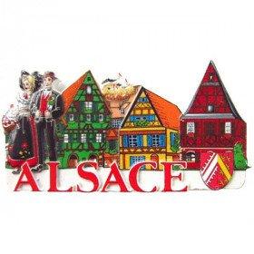 Magnet Dekorative geprägte Paar elsässisches Dorf und bunt Elsass