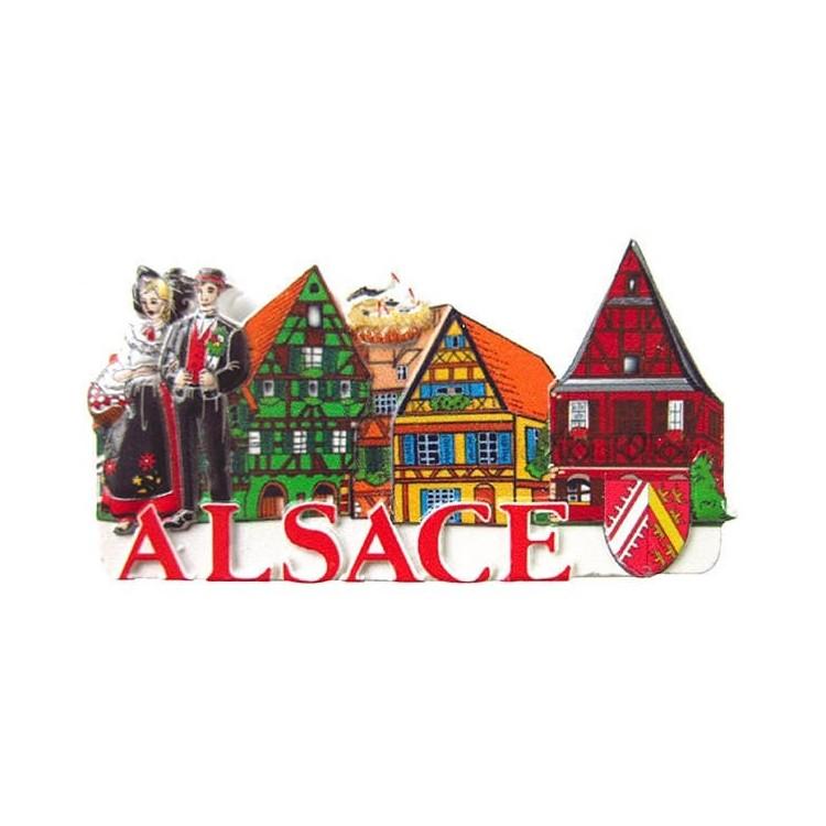Découvrez Magnet Décoratif en relief Couple d'Alsacien et Village coloré d'Alsace au Magasin La Boite aux Trésors à