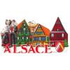 Magnet Décoratif en relief Couple d'Alsacien et Village coloré d'Alsace