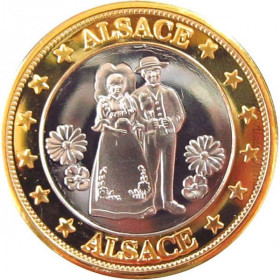 Pièce de Collection Cigogne et Couple d'Alsace