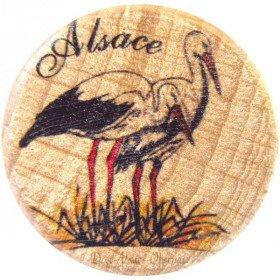 Deckel aus Holz und Kork Dekor Storch