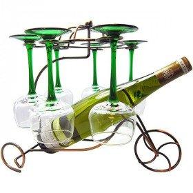 Metall Weinglas und Flaschenhalter