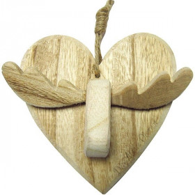 Heart Pendant with Reindeer in Wood with Cord