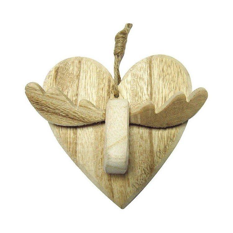 Découvrez Suspension Coeur avec Renne en Bois avec Cordelette au Magasin La Boite aux Trésors à Obernai