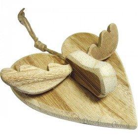 Herz Anhänger mit Holz Rentier mit Kordel in La Boite aux Trésors in Obernai