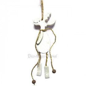 White reindeer pendant in wood with cord