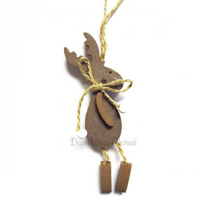 Brown wooden reindeer pendant light with cord
