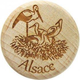 Deckel aus Holz und Kork graviert Nest der Störche im Elsass