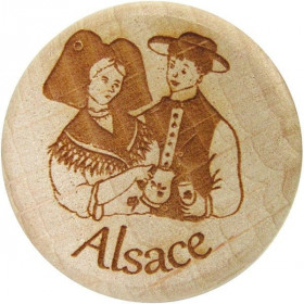 Wood and Cork stopper engraved Alsatian Couple
