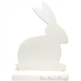 Kaninchen sitzen auf dekorativen Sockel Keramik Weiß