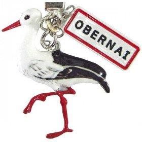 Schlüsselanhänger-Metall-Storch Elsass und Panel-Obernai