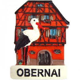 Dekorative Magnet Storch auf House Stud markiert Obernai