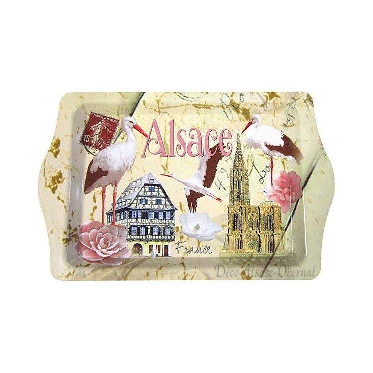 Plateau de Service en Métal décor Cigognes d'Alsace