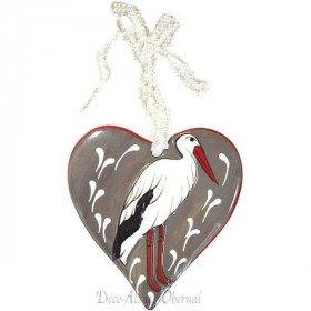 Coeur d'Alsace en Céramique et sa Cigogne Coeur en Relief àLa Boite aux Trésors à Obernai