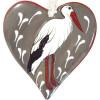 Coeur d'Alsace en Céramique et sa Cigogne Coeur en Relief