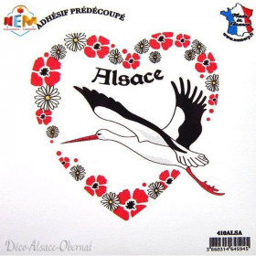 Autocollant Coeur de Cigogne d'Alsace La Boite aux Trésors à Obernai
