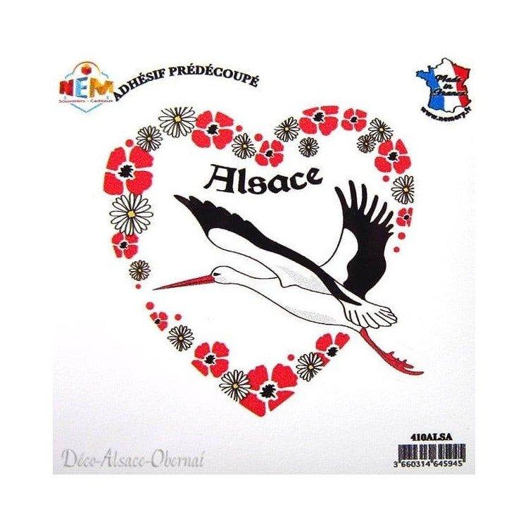 Découvrez Autocollant Coeur de Cigogne d'Alsace au Magasin La Boite aux Trésors à Obernai