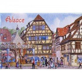 Dekorative Magnet Place de l'Etoile und Karussell Obernai