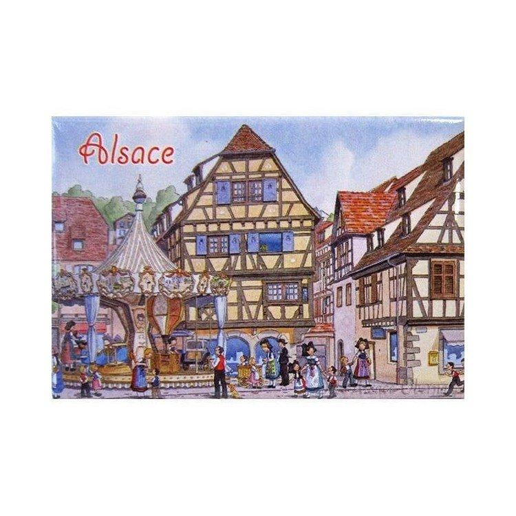 Découvrez Magnet Décoratif Place de l'Etoile et Carrousel d'Obernai au Magasin La Boite aux Trésors à Obernai