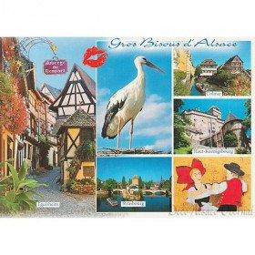 Carte Postale Cigogne Gros Bisous d'Alsace